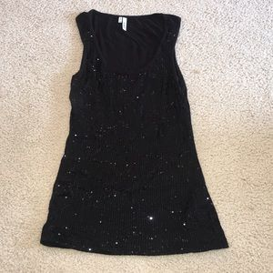 Soft Black Tank Top with Sequins